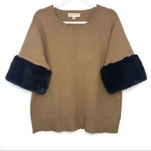 MICHAEL Michael Kors Sweaters - Michael Kors Camel Fur Cuff Sleeves Sweater XL